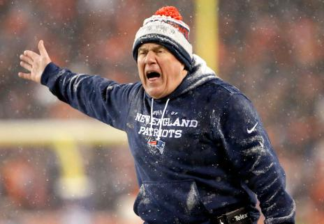 New England Patriots head coach Bill Belichick yells to the officials during the second half of an NFL football game against the Denver Broncos, Sunday, Nov. 29, 2015, in Denver. (AP Photo/Joe Mahoney)